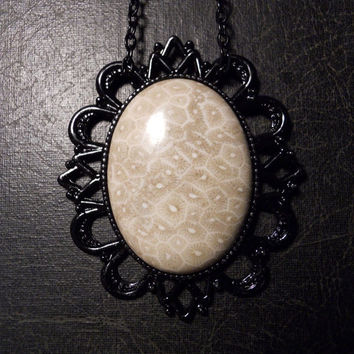 Huge Fossilized Coral Rock Formation Cabochon Necklace