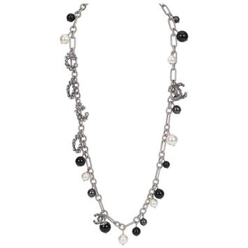 Chanel Coco Pearl Silver Long Necklace