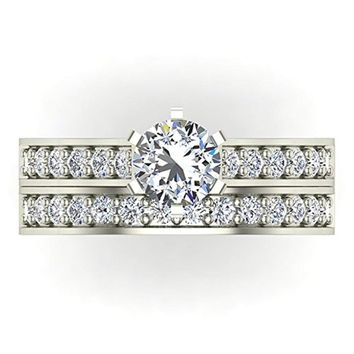 1.10 ct tw Cathedral Diamond Accented Bridal Wedding Ring Set in 14K Gold (J,I1)