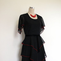 Black chiffon 70's dress / 1970's vintage maxi dress / cocktail dress / long formal dress. Black and red. Free UK delivery - see listing.