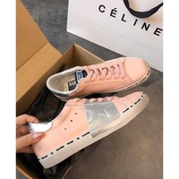 Golden Goose Ggdb Hi Star Pink Sneakers In Nubuck And Silver Leaf Strap - Best Deal Online