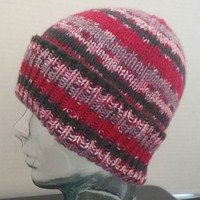 Hat, Beanie, Watch Cap, Slouchy, Knit, Teen, Adult, Red, Black, Gray, Stripes, Fall, Winter, Womens, Mens