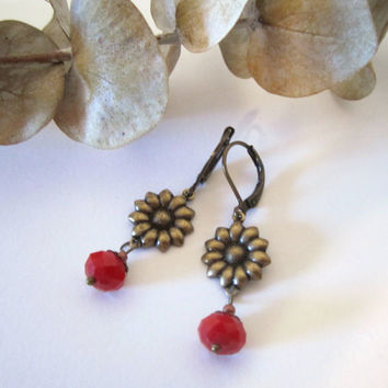 Flower Earrings  Brass and Crystal by 636designs on Etsy
