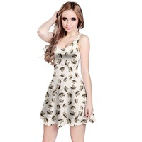 Autumn Leaves Motif Pattern Reversible Sleeveless Dress