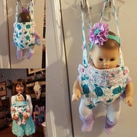"Baby doll carrier sling 15-16 inch dolls or stuffed animals ( Will fit Bitty Baby® ) ""Sea Turtles"" adjustable quilted hearts  A6"