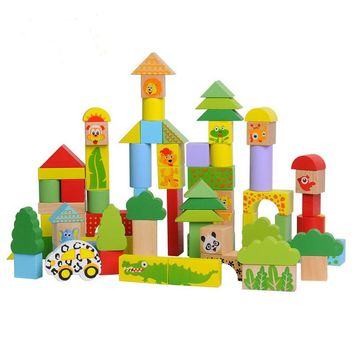 75pcs/Barrel Animal Pattern Wood Blocks Baby Wooden Early Education Toy Colorful Rectangle Building Model Kit Children Juguetes