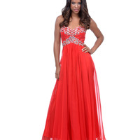 Red Beaded Sequin Strapless Sweetheart Long Dress 2015 Prom Dresses