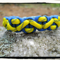 Blue and Yellow Reflective Paracord Bracelet