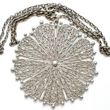 Vintage Silver Neckace with Large Medallion Pendant