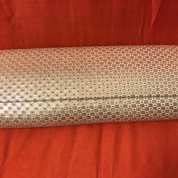 Vintage 60s 70s Metallic Silver and Red Clutch Evening Bag / Long Rectangular Mod Disco Purse / Unique Tiny Checker Pattern / Gifts for Her