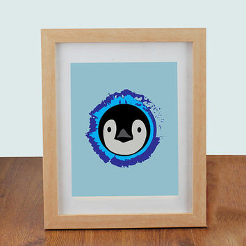 "8"" x 10"" Cute Penguin Wall Art - Suitable for kids as it is friendly and cute, nursery decor and children's bedrooms"