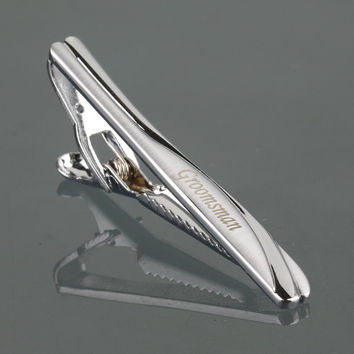 TJ-002 Personalized Tie Clip with Gift Box For Dad New Fashion Jewelry High Quality Custom Tie Bar Clips Fathers Day Name Gifts