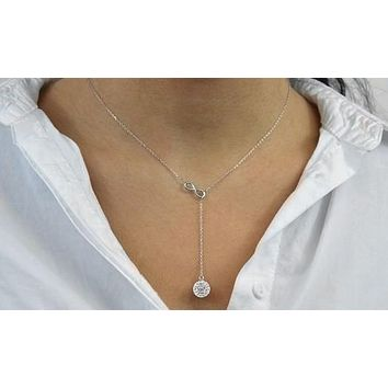 Womens Necklace Gift Ideas Infinity Y Necklace made with Swarovski Elements in Sterling Silver