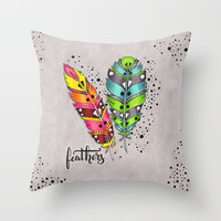 Two bright tribal feathers Throw Pillow by maria_so