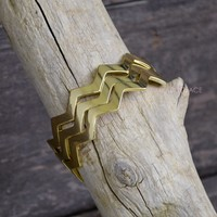Rock Point Gold Zig Zag Chevron Bangle Set