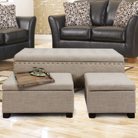 Furnistar Beige Frabrice Set of 3 Storage Ottoman / Bench