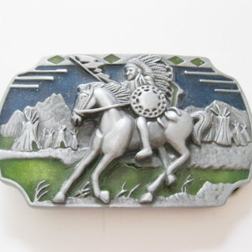 Native American Belt Buckle Indian Chief on Horse. free US shipping  - FL