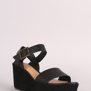 Bamboo Open Toe Ankle Strap Platform Wedge