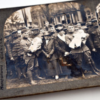 Keystone Stereoview WWI Homecoming Soldiers Holding Babies