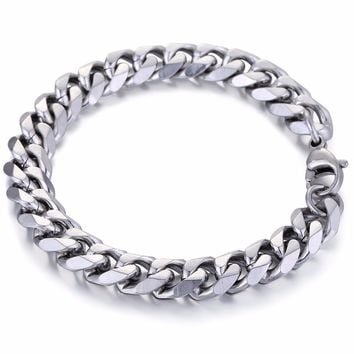 Trendsmax 11mm Mens Boys Curb Cuban Chain Bracelet Stainless Steel 7-11inch