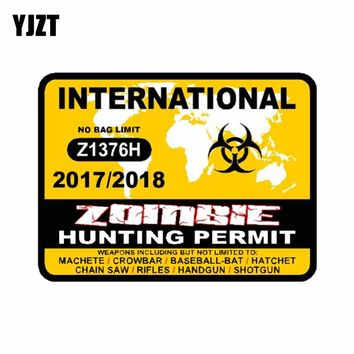 YJZT 10.2CM*7.6CM Car Sticker INTERNATIONAL Zombie Hunting Permit 2017 Australia Canada Car Window Reflective Decal C1-7370