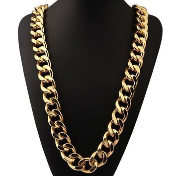 24K Thick Exaggerated Cuban Necklace