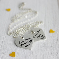 Double Heart Personalized Handwriting Necklace - SN1012