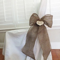 Burlap Bow Or Burlap Pew Bow Rustic Wedding Decor Set Of Two