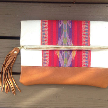 Sunburst clutch. Aztec Foldover Clutch