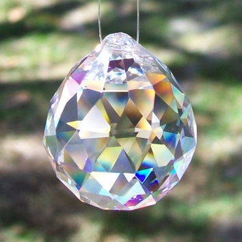 Ball Sphere 30% Lead Crystal Faceted Sphere 30mm, Christmas Ornament