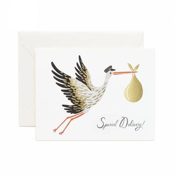 RIFLE PAPER CO. BABY STORK CARD