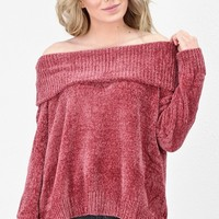 Off Shoulder Slouchy Chenille Knit Sweater {Dusty Cedar}