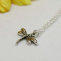 Dragonfly Necklace - Dragonfly Pendant - Tiny Dragonfly - Dainty Dragonfly Necklace - Dragonfly Jewelry - Gift Under 20 - Silver Dragonfly