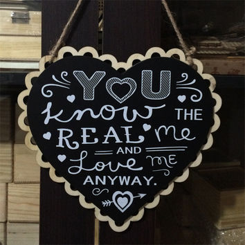 Romatic Heart Shape Mr and Mrs/ You Know Real Me Wooden Wedding Sign Black Board Party Event Decorating Hanging Signs