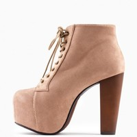 DIOANDRA PLATFORM BOOTS IN TAUPE