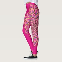 Pink & Blue, semi transparent, abstract flower, Leggings
