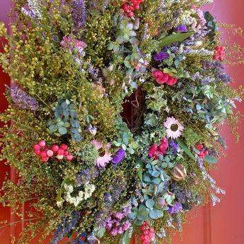 Dried Flower Wreath/ Herb Wreath/Dried Floral Arrangement/ Spring Wreath/ Mother's Day Gift/ Cottage decor/ Country decor/ Rustic decor