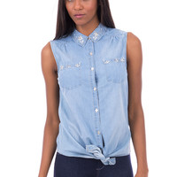 Denim Shirt With Beaded Detail AVAILABLE IN PLUS SIZES-Denim-UK 10 - EU 38