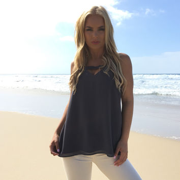 Break Thru Blouse In Charcoal