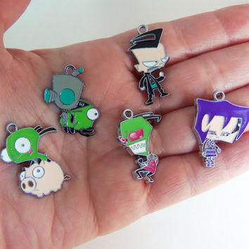 5 piece Invader Zim charm collection, invader zim charms, gir charms, gir pendants, zim pendant, cosplay accessory, cartoon charms, anime