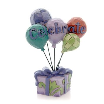 Jim Shore CELEBRATE BALLOONS MINI Polyresin Package Present 4052068