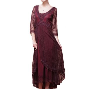 Nataya 40163 Downton Abbey Style Tea Party Dress in Ruby/Plum