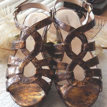 Franco Sarto Bronze Metallic Strappy Wedge Sandals Size 8.5