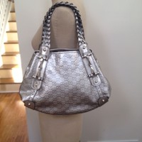NEW AUTHENTIC GUCCI MONOGRAM SILVER LEATHER BAG $3000