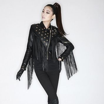 Lexi Black Leather Fringe Jacket