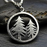 small mountain pendant silver, outdoor necklace mountain range black silver pendant tree mountain, landscape amulet necklace, gift for her