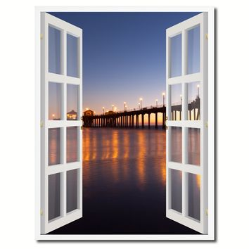 Huntington Beach California Picture French Window Canvas Print with Frame Gifts Home Decor Wall Art Collection