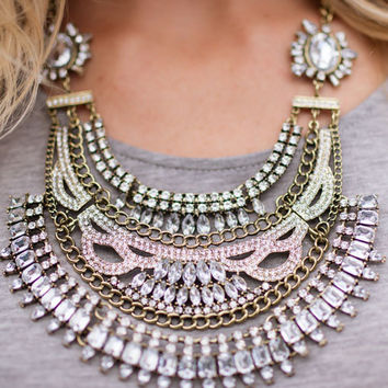 Put Some Bling On It Rhinestone Statement Necklace