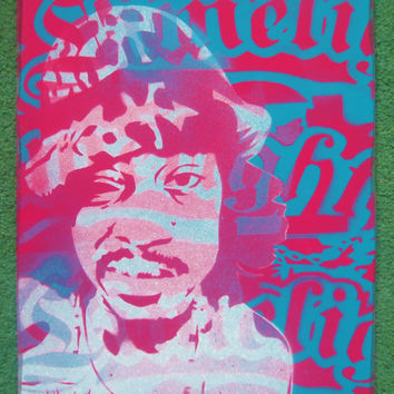 Andre 3000 painting,stencil art,street art,wood,pink,blue,turquoise,hip hop,soul,r&b,music,outkast,wall art,bedroom,rapper,america,atlanta,