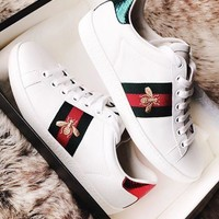 GUCCI New Fashion Stripe Bee Sports Shoes Casual Shoes Women White